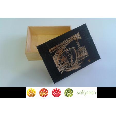 Caixa Retangular com Gravação a Laser de Barco Rabelo e Ponte D.Luis